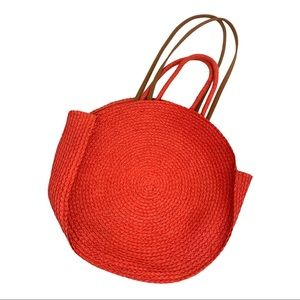 Round Woven Basket & Leather Purse Pink Brown
